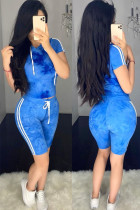 Blue Polyester Fashion Sexy adult Ma'am Patchwork Print Two Piece Suits pencil Short Sleeve Two Pieces