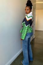 Green Turndown Collar Zippered Print Polyester Print Long Sleeve Blazer & Suits &Jacket NL61051
