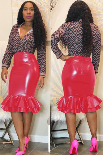 Red PU Zipper Fly Mid Patchwork Zippered Solid Mermaid skirt Skirts DM14036