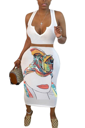 White Polyester Fashion Casual adult Ma'am Print Two Piece Suits A-line skirt Sleeveless Two Pieces