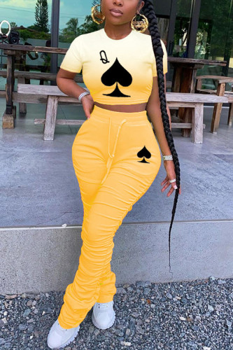 Yellow Polyester Fashion Casual adult Ma'am Print Gradient Two Piece Suits pencil Short Sleeve Two Pieces