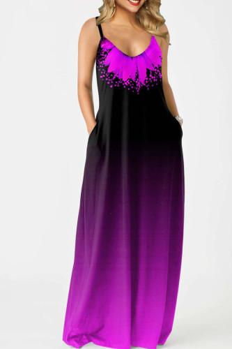 purple Polyester Sexy Slip Print Gradient Plus Size