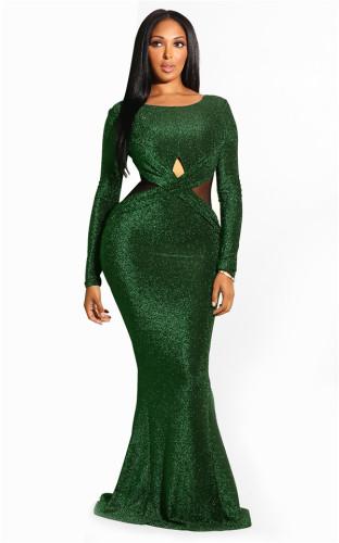 Green Fashion Long Sleeves O neck Mermaid Floor-Length Vintage Dresses LL54232