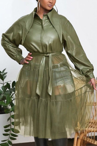 Olive green Fashion Adult Faux Leather Patchwork Solid Split Joint With Belt Turndown Collar Outerwear
