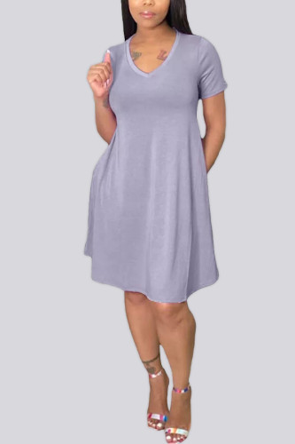 Light Gray Polyester Fashion Casual adult Ma'am Cap Sleeve Short Sleeves V Neck Swagger Knee-Length Solid Dresses