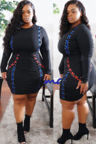 Black knitting adult Celebrities Fashion Ma'am O Neck Patchwork Solid contrast color Stitching Plus Size Dresses IF65084