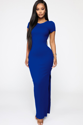 Blue Milk. Fashion Ma'am adult Sexy Cap Sleeve Short Sleeves O neck A-Line Ankle-Length Patchwork Solid Maxi Dresses LR2610293
