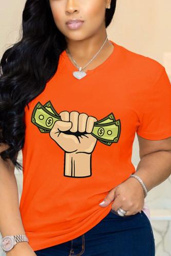 Orange Cotton Fashion Casual adult Ma'am O Neck Print Pattern Plus Size