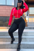 Red Polyester Sexy Two Piece Suits Print pencil Long Sleeve Two-piece Pants Set SL82038