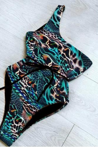 Blue Leopard backless crop top bandage One-Piece Swimwear