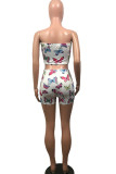 Colorful blue venetian Fashion Animal Prints Print Two Piece Suits pencil Sleeveless Two Pieces
