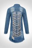 Dark Blue Turndown Collar Solid Hole The cowboy Pure Long Sleeve Outerwear