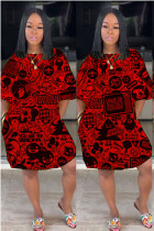 Red Polyester Fashion Casual adult Ma'am Red Yellow purple Cap Sleeve Short Sleeves O neck cake dress skirt Print Pocket Dresses
