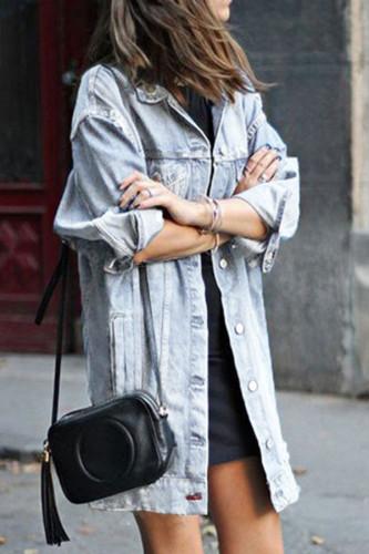 Baby Blue Cotton Fashion Casual Turndown Collar Hole Plus Size