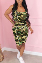 Green Polyester Fashion Active adult Patchwork Print Camouflage Two Piece Suits Straight Sleeveless Two Pieces
