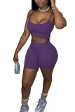 purple Cotton Fashion Street Solid Two Piece Suits Straight Sleeveless Two Pieces
