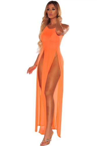 Orange knitting Solid Patchwork Sexy Cover-Ups & Beach Dresses LR2610161