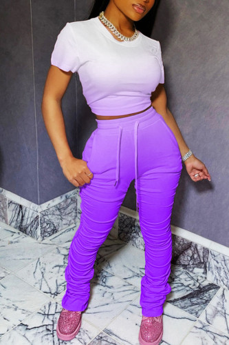 Cyan Polyester Fashion Active adult Ma'am Draped Gradient Two Piece Suits Straight Short Sleeve Two Pieces
