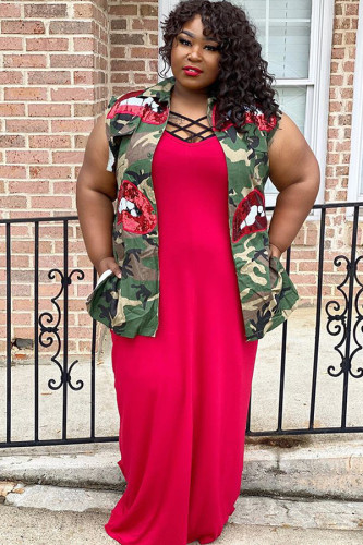 Green Denim Street Fashion Ma'am adult Turndown Collar Sequin Camouflage Sequined Pattern Plus Size overc