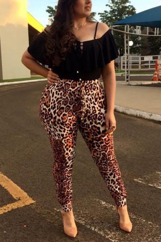 Leopard print Polyester OL Leopard Plus Size