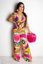 Yellow Polyester Sexy Fashion Bandage Print Two Piece Suits asymmetrical Floral crop top Regular Short Slee