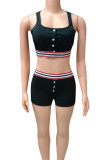 Red Cotton Fashion adult Ma'am Street Patchwork Two Piece Suits pencil Sleeveless Two Pieces