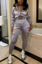 Grey Polyester Fashion adult Europe and America Ma'am Patchwork Solid Two Piece Suits pencil Long Sleeve Two Pieces