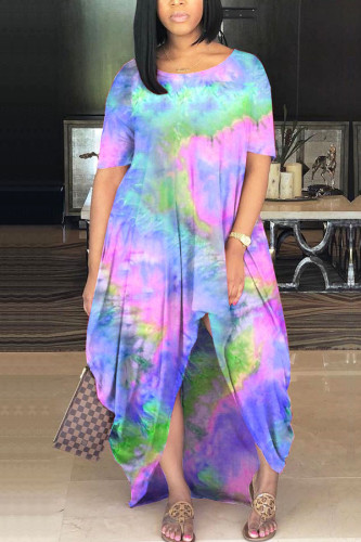 Blue Milk. Fashion adult Ma'am Street Cap Sleeve Short Sleeves O neck Princess Dress Floor-Length Print Tie and dye asymmetrical Dresses