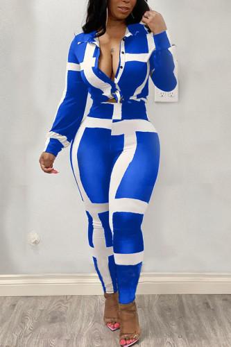 Black Polyester Fashion Casual adult Ma'am Turndown Collar Striped Stitching Plus Size