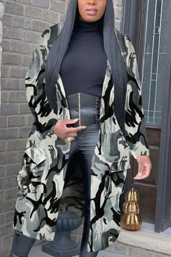 Grey Fashion Sexy Adult Polyester Camouflage Print Pocket Cardigan Turndown Collar Outerwear