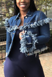 Dark Blue Turndown Collar Patchwork Solid tassel The cowboy Pure Long Sleeve Outerwear