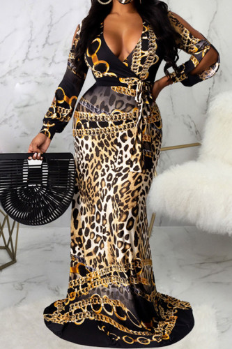 Leopard print Fashion Sexy Adult Polyester Print Leopard Split Joint V Neck Long Sleeve Floor Length Printed Dress Dresses