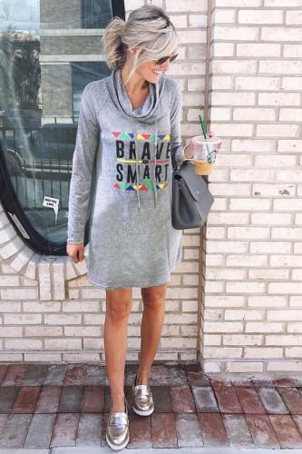 Grey Sexy Fashion Cap Sleeve Long Sleeves Turtleneck A-Line Knee-Length Print Dresses DZ861