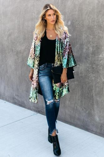 Multi-color Half-Open collar Sequin Patchwork Polyester Others Long Sleeve cloak TR671239