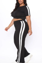 Black Casual Polyester Solid Split Joint O Neck Plus Size