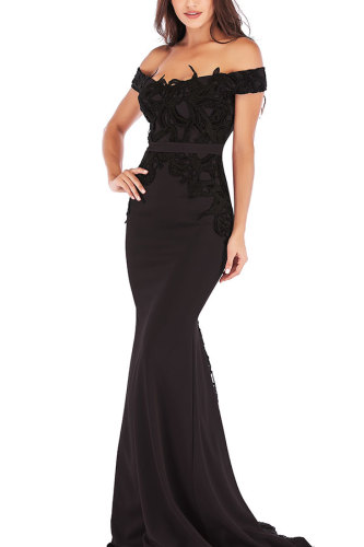 Black Sexy Spaghetti Strap One word collar Slim Dress Floor-Length Patchwork LR17851
