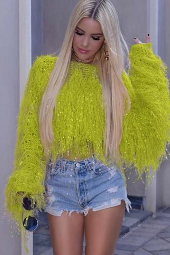 Mustard yellow knitting O Neck Long Sleeve HOLLOWED OUT tassel Solid Sweaters & Cardigans ZS571206