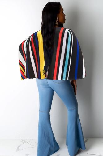 Multi-color cardigan contrast color Print Striped Polyester Print Long Sleeve cloak PN791322
