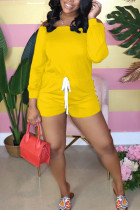 Yellow Fashion street Solid Polyester Long Sleeve one word collar Jumpsuits