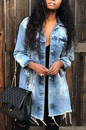 Light Blue Denim Fashion adult Europe and America Ma'am Turndown Collar Patchwork Hole Button Plus Size