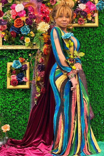 multicolor Milk. Sexy Sleeve Long Sleeves V Neck Princess Dress Floor-Length Striped Print LZ121364