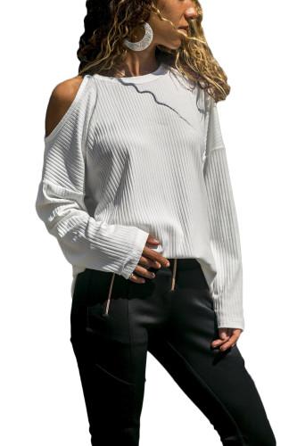 White knitting O Neck Long Sleeve Solid