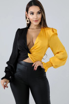 Yellow Polyester V Neck Long Sleeve Solid contrast color crop top Patchwork Draped ruffle Long Sleeve Tops AS721247