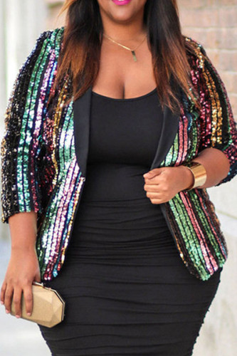 Stripe Party Polyester Cotton Blends Striped Patchwork Print Sequins Split Joint Sequined Turn-back Collar Plus Size