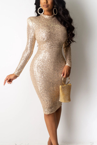 Khaki Polyester Sexy Celebrities Europe and America Long Sleeves O neck Slim Dress Mini Sequin Dresses