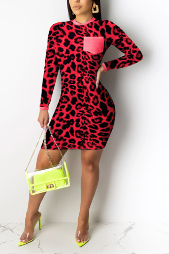 Red Casual Long Sleeves Step Skirt Mini Print Leopard Dresses