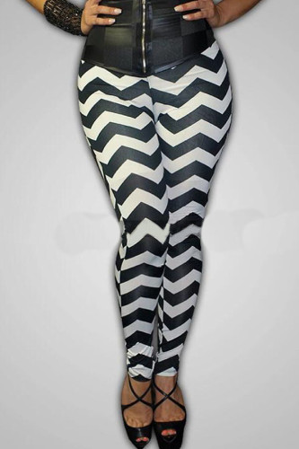 multicolor Polyester Elastic Fly Mid Striped pencil Pants Leggings LZ121336
