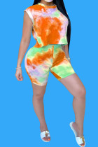 Orange Polyester Fashion Casual Print Tie Dye Two Piece Suits pencil Sleeveless Two Pieces