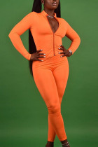 Orange Casual Polyester Solid Split Joint O Neck Long Sleeve Regular Sleeve Short Two Pieces