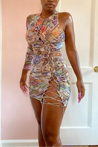 multicolor Polyester Sexy Tank Sleeveless O neck Hip skirt skirt Print Dresses